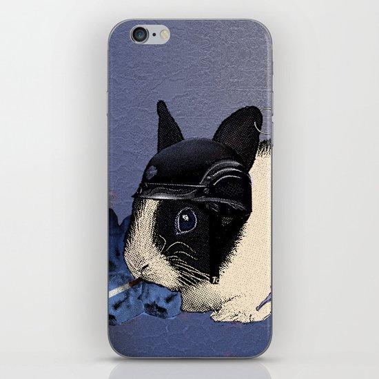 Blue Biker Bunny Print iPhone Skin