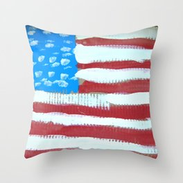 oh, America - naive acrylic painting in red, white and blue by Throw Pillow