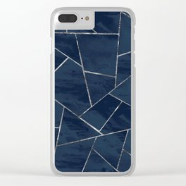 Midnight Navy Blue Ink Silver Geometric Glam #1 #geo #decor #art #society6 Clear iPhone Case