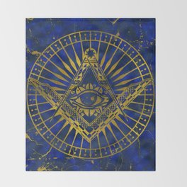 All Seeing Mystic Eye in Masonic Compass on Lapis Lazuli Throw Blanket