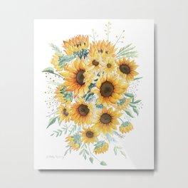 Loose Watercolor Sunflowers Metal Print