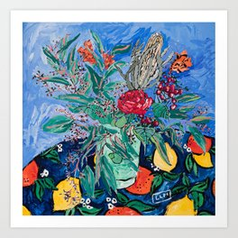Australian Wildflower Bouquet with Citrus Print Still Life Painting Art Print