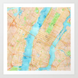 New York City watercolor map Art Print