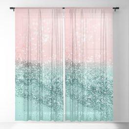 Summer Vibes Glitter #4 #coral #mint #shiny #decor #art #society6 Sheer Curtain
