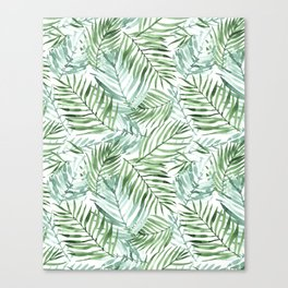 Watercolor palm leaves pattern Canvas Print