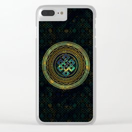 Marble and Abalone Endless Knot  in Mandala Decorative Shape Clear iPhone Case