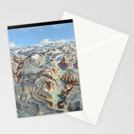 Heinrich Berann - Panoramic Painting of Yosemite National Park with labels (1989) Stationery Cards