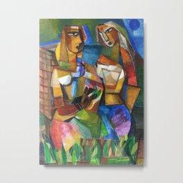 Sisters at the Vineyard colorful modern abstract painting by Segar Metal Print