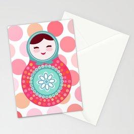 doll matryoshka, pink and blue, pink polka dot background Stationery Cards