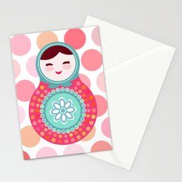 doll matryoshka, pink and blue, pink polka dot background Stationery Cards