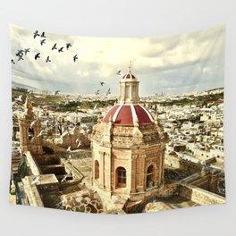 An aerial shot of the Parish Church of Saint Catherine, Zejtun Malta Wall Tapestry