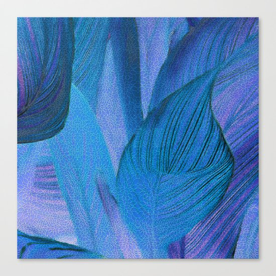 Exotic Leaves with Translucent Floral Pattern Canvas Print