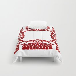 Art Nouveau White & Red Comforters
