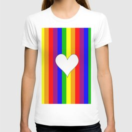 Gay flag with the colors of the rainbow with a heart T-shirt