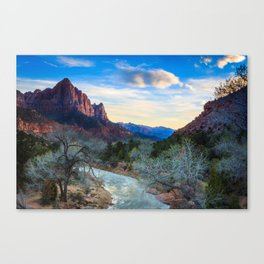 The Virgin River Flows Towards The Watchman at Sunset Canvas Print