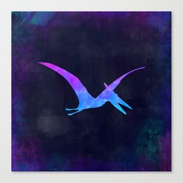 PTERODACTYL IN SPACE // Dinosaur Graphic Art // Watercolor Canvas Painting // Modern Minimal Cute Canvas Print
