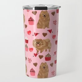 Pomeranian valentines day love hearts cupcakes pattern cute puppy dog breeds by pet friendly Travel Mug