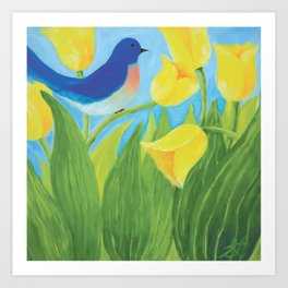 Blue Bird with Yellow Tulips by Sandy Thomson  Art Print