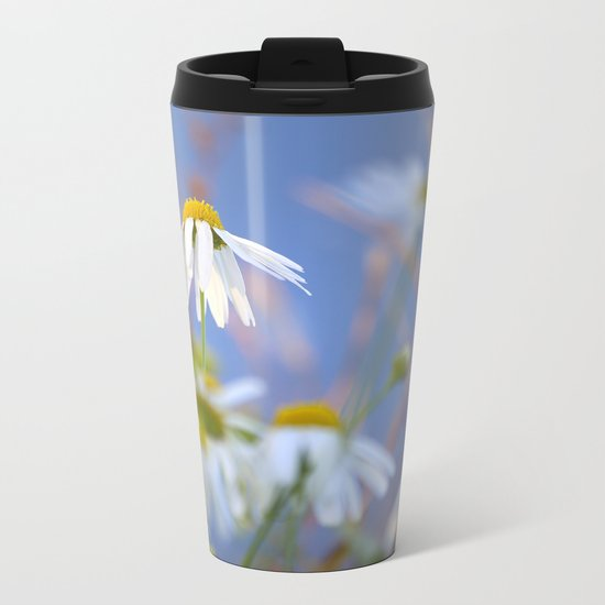 Daisies on a sunny summer day with blue sky Metal Travel Mug