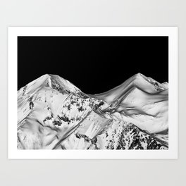 Two Peaks Black and White Abstract Landscape Art Print