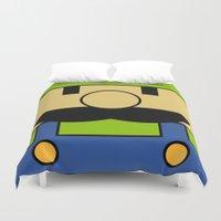 luigi Duvet Covers featuring Minimal Luigi by pruine