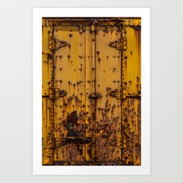 Rusting Yellow Boxcar Door Train Rolling Stock Railroad Texture Art Print