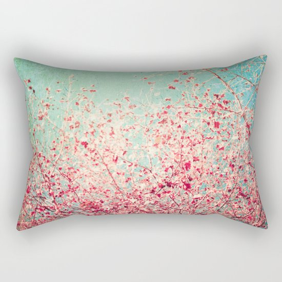 Blue Autumn, Pink leafs on blue, turquoise, green, aqua sky Rectangular Pillow