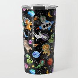 Zoo Animal Astronauts In Space Watercolor Travel Mug