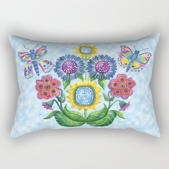 Butterfly Playground on a Summer Day Rectangular Pillow