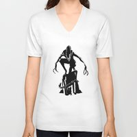alien V-neck T-shirts featuring Alien by Michelle Woodward