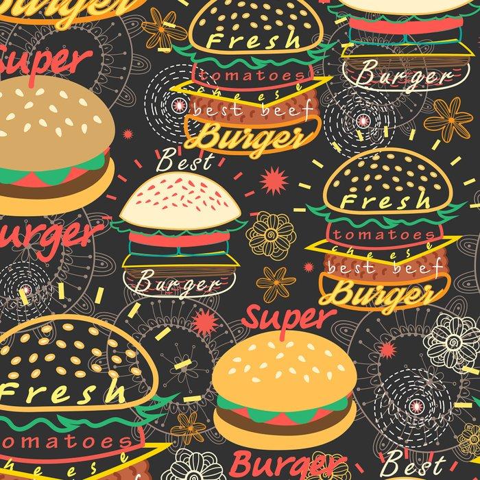 Graphic seamless pattern bright tasty burgers on a dark background Leggings