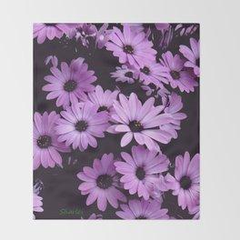 Black & Lilac Color Purple Daisies Throw Blanket