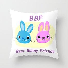 BBF Best Bunny Friends Throw Pillow