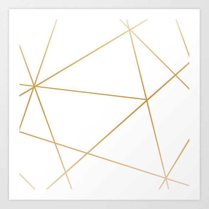 geometric gold and white Kunstdrucke