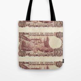 100 Spanish Pesetas old banknote collage Tote Bag