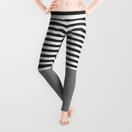 Gray Half Striped Leggings