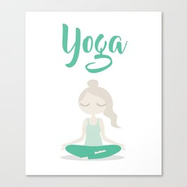 Young Yoga Lady sitting in Lotus Position - International Yoga Day Canvas Print
