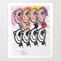 Eight faces not looking Art Print