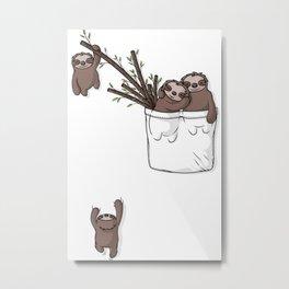 Pocket Sloth Family Metal Print