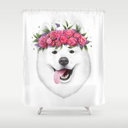 Samoyed with flowers Shower Curtain