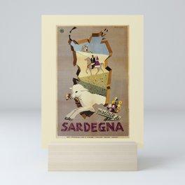 Visit Sardinia vintage Italian travel ad Mini Art Print