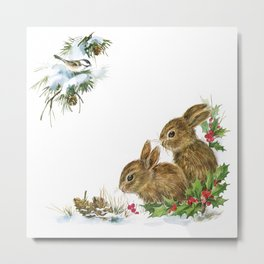 Winter in the forest- Animal Bunny Illustration Metal Print