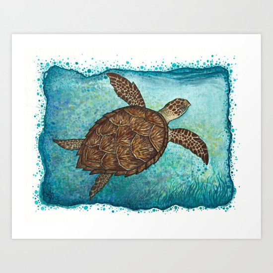 """Hawksbill Sea Turtle"" by Amber Marine ~ Watercolor & Sea Salt Painting, (c) 2016 Art Print"