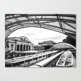Union Station // Train Travel Downtown Denver Colorado Black and White City Photography Canvas Print
