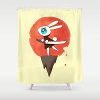 samurai Shower Curtains featuring Samurai Bunny by Freeminds