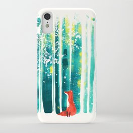 Fox in quiet forest iPhone Case