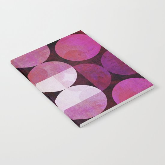 fashionable red pink grunge circle pattern Notebook