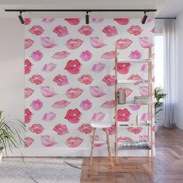 Watercolor pink lips pattern Wall Mural