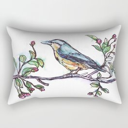 Bird on a Branch (drawn with one, continuous line) Rectangular Pillow