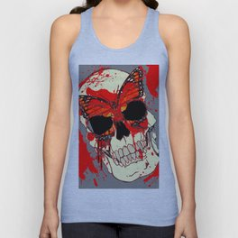 HALLOWEEN BLOODY SKULL & BUTTERFLY ART Unisex Tank Top